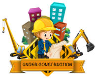 Banner design with engineers and construction  site Royalty Free Stock Photo