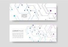 Banner design in geometrical hexagon figures royalty free illustration