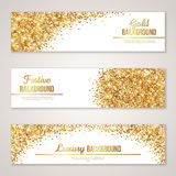 Banner Design with Gold Glitter Texture. Royalty Free Stock Photo