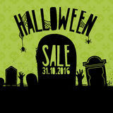 Banner Design for Halloween sale. Poster with decoration handstone, zombie hand. Terrible brochure for halloween offer Stock Images