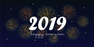 2019 happy new year greeting design vector illustration with hand drawn fireworks. Banner design of 2019 happy new year greeting design vector illustration with vector illustration