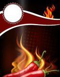 Banner design with hot chili and fire. Illustration Stock Photography