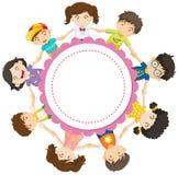 Banner design with kids holding hands in circle. Illustration royalty free illustration