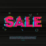 Banner design, poster, brochure with glitch effects to sales, promotions, offers. The inscription sale on the black Stock Photos