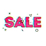Banner design, poster, brochure with glitch effects to sales, promotions, offers. The inscription sale on the white Stock Image