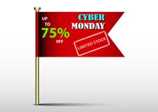 Cyber Monday flag banner design promotion. Banner design for promotion on cyber monday event Royalty Free Stock Photos