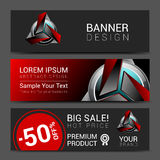 Banner design red robot technology turquoise black Royalty Free Stock Images