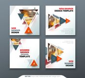 Banner design. Square abstract vector banner with triangle shapes for web template. Banner design. Square abstract vector banner with triangle shapes for web Stock Photos