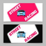 Banner design with street racing car icon Royalty Free Stock Images