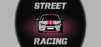 Banner design with street racing car icon Stock Image