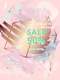 Banner design in style 80s, 90s. Sale 50. March 8 Stock Photos