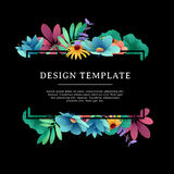 Banner design template with floral decoration. The black rectangular  frame with the decor of flowers, leaves, twig Stock Images