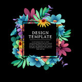 Banner design template with floral decoration. The black square frame with the decor of flowers, leaves, twigs. Luxary. Invitation with place for text on a Stock Images
