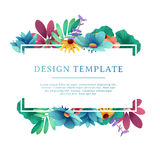 Banner design template with floral decoration. Rectangular frame with the decor of flowers, leaves, twigs. Individual. Invitation with space for text on the Stock Image