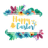 Banner design template with floral decoration for spring Easter. Frame with the decor of flowers, leaves, twigs Stock Image