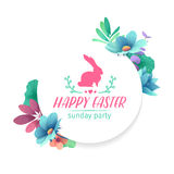 Banner design template with floral decoration for spring Easter. The round frame with the decor of plants, herb, leaves Stock Photos