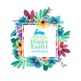 Banner design template with floral decoration for spring Easter. The square frame with the decor of flowers, leaves Royalty Free Stock Images