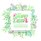 Banner design template with floral decoration for spring Easter. The square frame with the decor of flowers, leaves Stock Photo