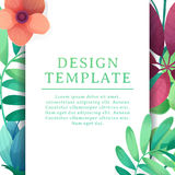 Banner design template with floral decoration. The square frame with the decor of flowers, leaves, twigs. Invitation. With place for text on a background summer Stock Photos