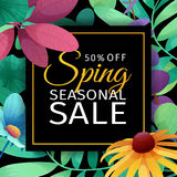 Banner design template for seasonal sale. A square poster with discounts for the spring sale. Floral decoration on a. Black background. Elegant decoration of stock illustration