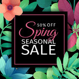 Banner design template for seasonal sale. A square poster with discounts for the spring sale. Floral decoration on a Royalty Free Stock Images