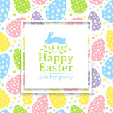 Banner design template on wallparer eggs  for spring Easter. The square frame on pastel background. Invitation  Royalty Free Stock Images