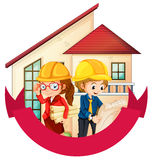 Banner design with two engineers at the house Royalty Free Stock Images