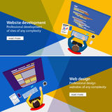 Banner development and design process programmer site Stock Photography