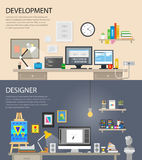 Banner development flat illustration concepts and flat icons set. Stock Photography