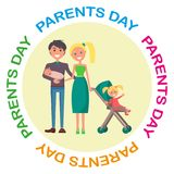 Banner Devoted to Parent s Day with Inscription. Vector illustration of family including father, mother, newborn and little daughter Royalty Free Stock Photos