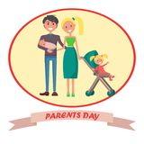 Banner Devoted to Parent s Day with Inscription. Parents day banner with happy young husband, blonde wife and toddler. Vector illustration of family including Stock Images