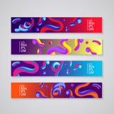 Banner die met abstract dynamisch ontwerp wordt geplaatst als achtergrond Vloeibare kleuren op kleurrijke gradiëntachtergrond Eps Stock Foto's