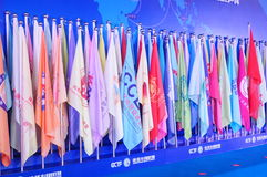 Banner. Different countries and regions of the chamber of Commerce organizations in the flag, the Shenzhen Convention and Exhibition Center, China (Shenzhen) Stock Photography