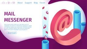 Banner Digital Mail Messenger Vector Landing Page. stock illustration