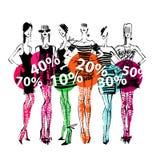 Banner - discount, sale. Fashion illustration Stock Image