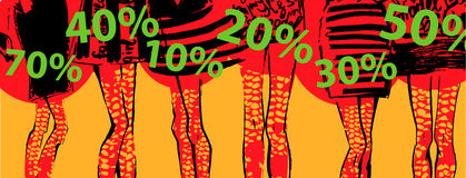Banner - discount, sale. Fashion illustration Royalty Free Stock Photo