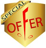 Banner discounts with falling prices special offer logo-icon Stock Photography