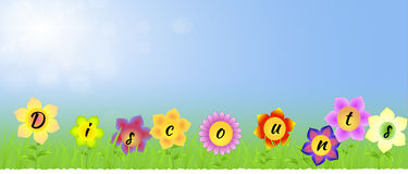 Banner with Discounts on the flowers Stock Photo