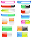 Banner is divided into two buttons. Banner, made of bright colored glass, are divided into two buttons Stock Illustration