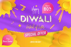 Banner Diwali Festival of lights with special offer Sale 80 off. Creative template with decoration elements and shadow on the yell. Ow background. Flat stock illustration
