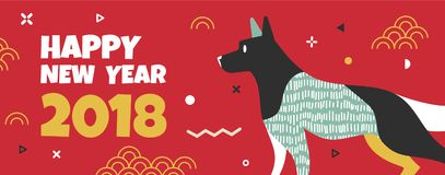 Banner with the dog and the text the new year. Template banner with the dog in the style of Memphis and the text of the new year. The banner can be used for royalty free illustration