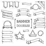 Banner Doodle, Hand drawing styles of Banner. Stock Photo