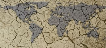 Banner Dried and Cracked Arid Earth Map Drought Concept stock photography