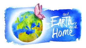 Banner for Earth Day. Painted in watercolor banner for earth day. Butterfly flying over the planet Royalty Free Stock Photo