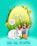 Banner with Easter bunny and big egg vector illustration