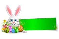 Banner with Easter bunny, brightly painted Easter eggs and flowers isolated - vector. Banner with Easter bunny, brightly painted Easter eggs and flowers isolated vector illustration