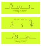 Banner with easter bunny, easter eggs (vector). Three green banners with easter bunny, easter eggs, and daffodil (vector vector illustration