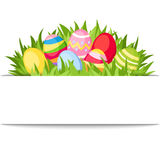 Banner with Easter colorful eggs and grass. Vector eps-10. Vector white banner with colorful Easter eggs and green grass Royalty Free Stock Photography