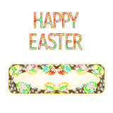 Banner  easter eggs with willow vector Royalty Free Stock Photography
