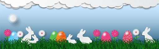 Banner of easter holiday background with eggs on green grass and white rabbit, vector illustration.  Royalty Free Stock Photo